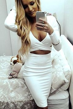 Sexy Plunging Neck Criss-Cross Long Sleeve Dress For WomenClub Dresses | RoseGal.com