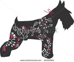 miniature schnauzer with floral design - stock vector