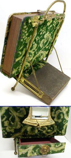 Antique Victorian Edwardian Ornate Velvet & Brass Photo Album, Stand, & Drawer