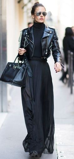 All Black Outfits to Copy All black outfit / Street style fashion / fashion week Fashion Mode, Look Fashion, Winter Fashion, Womens Fashion, Fashion Trends, Rock Style Fashion, Fashion Tips, Fashion Beauty, Fashion Black