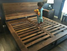 You will see many duplicates but no matches for this knockout bed! The metal is tube steel and the wood is SOLID WALNUT. This bed is a masterpiece. You will notice the straight lines and beautiful Industrial Bed, Industrial Chic Style, Zen Bed, Queen Platform Bed Frame, Mattress Sets, Bed Slats, Home Decor Bedroom, Bedroom Ideas, Bed Ideas