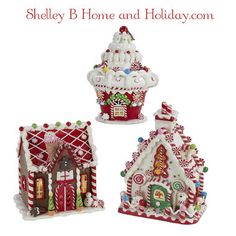 Cupcake House, Gingerbread House, Iced House covered with candies to decorate your home for Christmas.