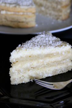 Vegan, glutenfree coconut cake with cream cheese frosting.