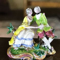 """Tricia Street - Porcelain Figurine """"Marriage In Harmony"""", 1 high, Meissen style Small Figurines, Miniature Figurines, Tiny Treasures, Dollhouse Miniatures, Artisan, Porcelain, Marriage, Pottery, Antique"""