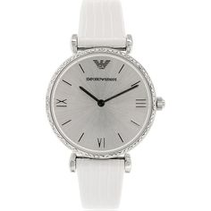 This classic timepiece by Armani features a stainless steel case, textured silvertone bezel and elegant white leather strap. A silvertone dial, precise quartz movement and a water-resistance level of up to 30 meters finish this fine timepiece.