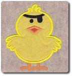Applique Pirate Chick Embroidery Design by 8Clawsandapaw.com 4x4, 5x7, 6x10
