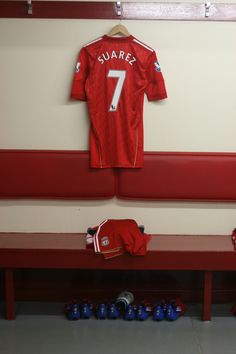 2d5c621d6 Luis Suarez s kit is laid out in the Anfield dressing room for the last  time this