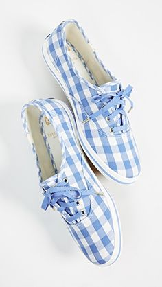 Keds x Kate Spade New York Gingham Sneakers Italian Leather Handbags, Black Leather Handbags, Cute Shoes, Me Too Shoes, Baskets, How To Make Leather, Photo Portrait, Buy Shoes Online, Blue Gingham