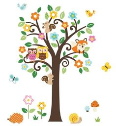 Giant Peel  Stick Nursery Decal - Forest Animals  Flowers Tree for Boys  Girls (Tree Assembles 4.7 Feet Tall) $25.99