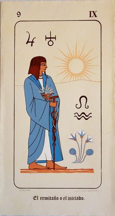 Apologia del Libro de Thot Tarot - Extremely rare Tarot published 1980 in Spain. Very large cards (34/18 cm) printed in Egyptian style, with titles on Spanish.
