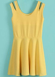 Vestido gasa hombro abierto-Amarillo EUR€16.20