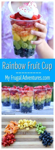 Rainbow Fruit Cups {Healthy Snack for Children Rainbow Fruit Cups- perfect party food! Simple and healthy and the kids will love it! The post Rainbow Fruit Cups {Healthy Snack for Children appeared first on Toddlers Ideas. Snack Recipes, Cooking Recipes, Food Recipes For Kids, Budget Cooking, Party Recipes, Cooking Ideas, Cooking Games, Muffin Recipes, Breakfast Recipes