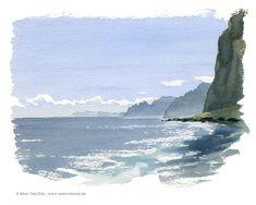 Watercolor Ocean, Watercolor Landscape Paintings, Landscape Drawings, Landscape Art, Sea Paintings, Watercolour, Beach Illustration, Aesthetic Painting, Guache