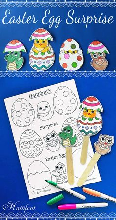 Hattifant's Easter Surprise Egg Papercraft to Color Printables Craft Sticks