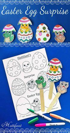 Hattifant's Easter Surprise Egg Papercraft to Color Printables Craft Sticks