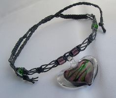 images of hemp jewelry | Hemp Jewelry-Black Hemp Necklace/Choker with Glass Pendant | Flickr ...