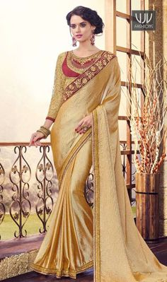 Magnetize Beige Color Georgette Designer Saree Famous designers tend to give reign to their imagination and create clothes that look interesting and guided by the desire to attract attention. Look stunningly beautiful in this beige color georgette designer saree. It has been beautifully designed with embroidered and patch border work.