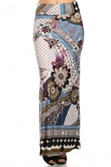 PLUS SIZE ABSTRACT PRINT HIGH WAISTED FULL LENGTH MAXI SKIRT WITH FOLD OVER WAIST BAND