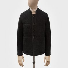 Work jacket in coal grey wool-angora twill — S.E.H Kelly
