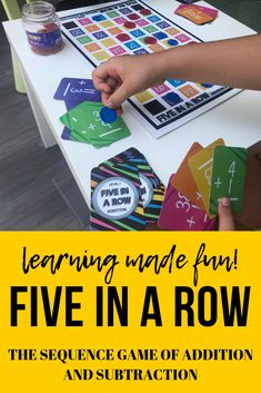 Five in a Row! The Board Game of Addition and Subtraction Fun Math, Math Games, Word Games, Creative Teaching, Teaching Tips, Math Skills, Math Lessons, Educational Activities, Learning Activities
