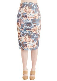 From Matisse to Monet Skirt. Observing the ornate pieces in the museum today feels even more picturesque in this floral pencil skirt! #blue #modcloth