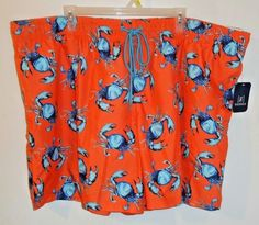 05b869b28c Big Men's George Above The Knee Blue Crabs Swim Trunks Shorts Orange Size  3XL #George