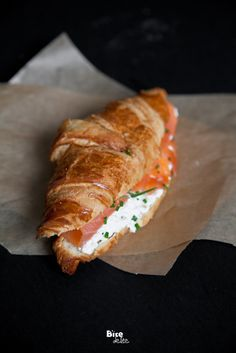 Croissant with smoked salmon and herbed cream cheese & chives  #salmon #breakfast #brunch #blunch