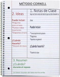 Resultado de imagen para tomar apuntes metodo cornell School Notes, Study Motivation, College Life, Study Methods, Study Techniques, Coaching, Cinema 4d, Flipped Classroom, Back 2 School