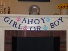 Ahoy Girl Or Boy Banner / Nautical Gender by BannerGatherings