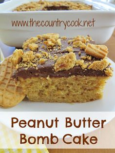 Peanut Butter Bomb Cake Recipe ~ moist & delicious... great all by itself, the frosting is just a bonus!