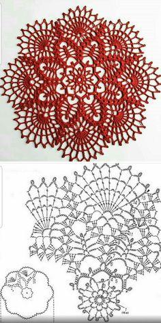 Free Crochet Doily Patterns, Crochet Placemats, Crochet Snowflake Pattern, Crochet Doily Diagram, Crochet Snowflakes, Crochet Chart, Thread Crochet, Crochet Motif, Crochet Lace
