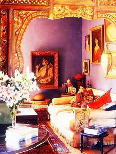 10 Colorful India Inspired Interiors - Patterned Pillows, Carved Wood, Lilac Plaster Walls, Indian Portraits