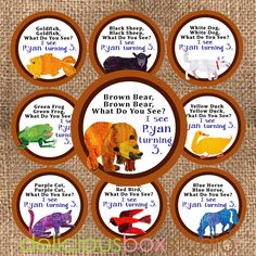 Brown Bear, Brown Bear - What do you see? Party Labels - Cupcake Toppers - Printable - DIY - Delicious Box Studio