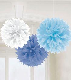 Pom Pom Set - blau/weiß - 3-teilig - 40 cm