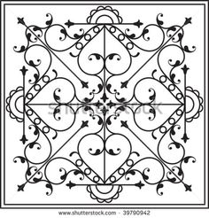 wrought iron grill window gate design stock vector illustration - Wrought Iron Wall Designs