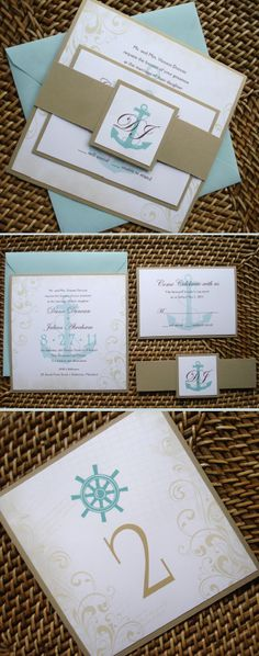 Anchor Wedding Invitation, Aqua Nautical Wedding Invitation, Cruise wedding invitations, vintage Destination Ship wedding invite, Yacht wedding, Anchor wedding