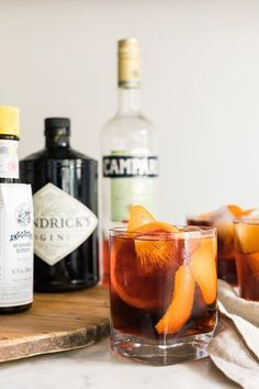 Negroni cocktail recipe by with gin, campari, and sweet vermouth Cointreau Cocktail, Cocktail Drinks, Cocktail Recipes, Campari Cocktails, Cocktail Club, Drink Recipes, Refreshing Drinks, Fun Drinks, Yummy Drinks