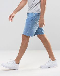 Image 4 of River Island Denim Shorts With Abrasion And Raw Hem In Lightwash Blue