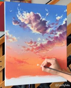 Acrylic Painting Tips, Canvas Painting Tutorials, Diy Canvas Art, Painting Clouds, Painting Videos, Acrylic Painting Inspiration, Using Acrylic Paint, Acrylic Art, Fabric Painting