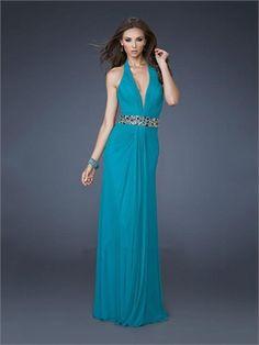 Elegant Halter V-neck Jewelled Waist Open Back Chiffon Prom Dress PD11415 www.dresseshouse.co.uk $118.0000