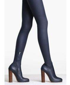 Celine thigh high boots, navy blue leather