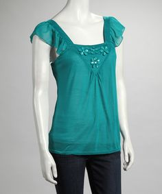Take a look at this Jade Flower Angel-Sleeve Top by Ruby Rose on #zulily today! $10