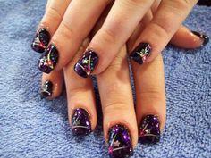 kinda cute, i like the dark purple and gold Firework Nails, Fireworks, Gel Nail Designs, Holiday Nails, Cosmetology, Toe Nails, Pedi, Nail Care, Pretty Nails