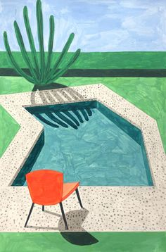 """""""I think I work somewhere between illustration and art,"""" explains Ana Popescu, the Romain-born artist who reimagines the houses of Bucharest and the modernist villas of Palm Springs with sun-drenched colours and clear compositions. David Hockney Art, David Hockney Paintings, David Hockney Pool, Hockney Swimming Pool, David Hockney Landscapes, Gravure Illustration, Illustration Art, Palm Springs, Landscape Architecture Drawing"""