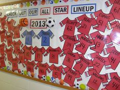 Sports Bulletin Board using students last names on Jersey