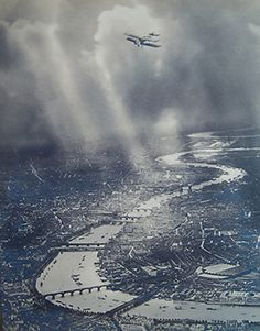 Bi-plane over The Thames, London, 1923 composite image by Captain Alfred George Buckham, pioneer of aerial photography