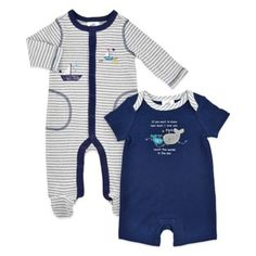 Just Born® High Seas 2-Piece Whale Romper and Sailboat Footie Set in Grey/Navy - buybuyBaby.com