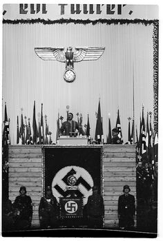 Hitler gives an address to his fellow National Socialists at the Sportspalast in Berlin.