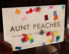 Would make CUTE birthday invitations!  A how-to guide to make Aunt Peaches: Confetti Snow Globe Business Cards