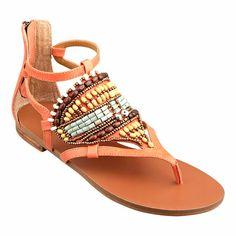 Beaded thong 1/4 sandal.  Back zipper closure.  Rubber sole.  Leather upper.